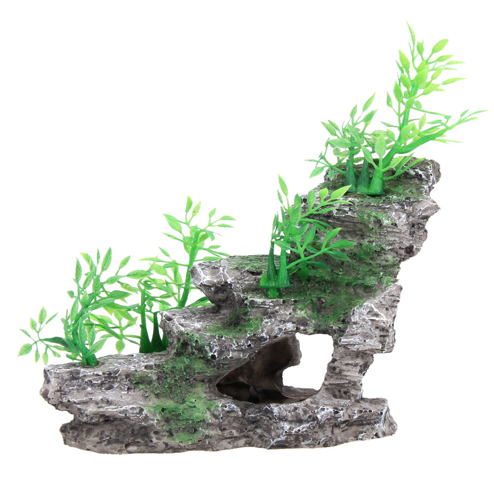 Dragon fish tank ornament - 1pc 14 12 8cm Aquarium Resin Rockery Decoration Ornaments Artifical Mountain Tree Cave Stone