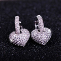 Luxury heart full disassembly pave setting cubic zirconia hollow earrings accessories earring long design