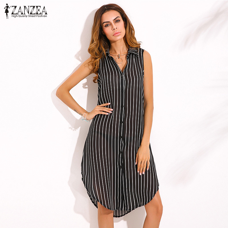 ZANZEA Newest Women Elegant Dress 2019 Ladies Lapel Neck Sleeveless Split Hem Stripe Print Casual Oversize Knee Length Vestidos