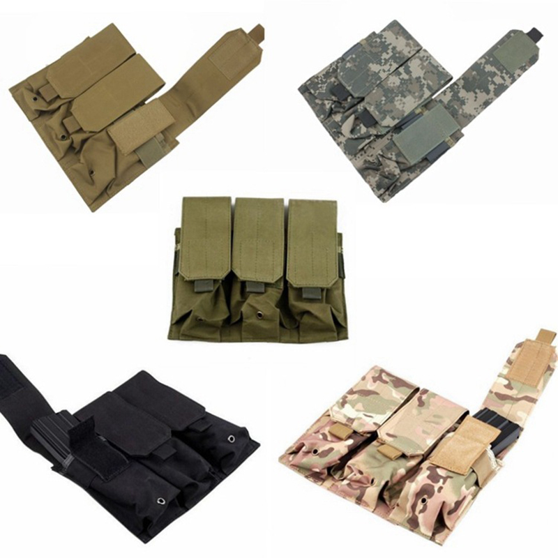 Military Tactical PALS MOLLE AR M4 5.56/.223 Triple Magazine Pouch Mag Holder For Pistol Handgun Airsoft Vest Holsters Bag Pack