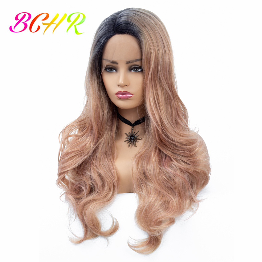 Bchr Rose Gold Synthetic Lace Front Wigs Ombre Blonde Wigs For Women Natural Wave Lace Hair Wigs Free Shipping Beneficial To The Sperm