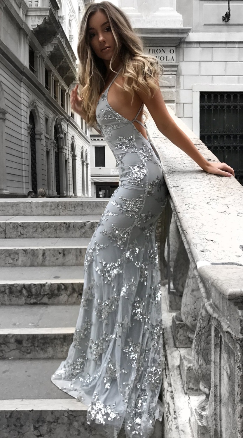 High Quality Wedding Party Dress Women Backless Sexy Sling V Neck Sequin Dress Prom Gown Long Bridesmaid Dress