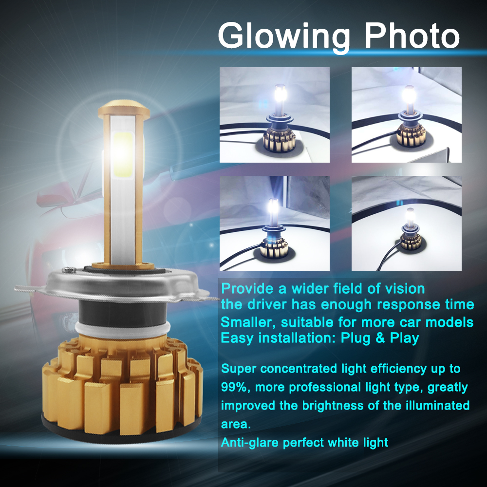 AROUSE H4 H7 H11 LED Headlight Bulbs 9005 9006 COB Chips 80W 12000LM 6000K Car Led Auto Headlamp Headlights Fog Light DC12v 24v in Car Headlight Bulbs LED from Automobiles Motorcycles