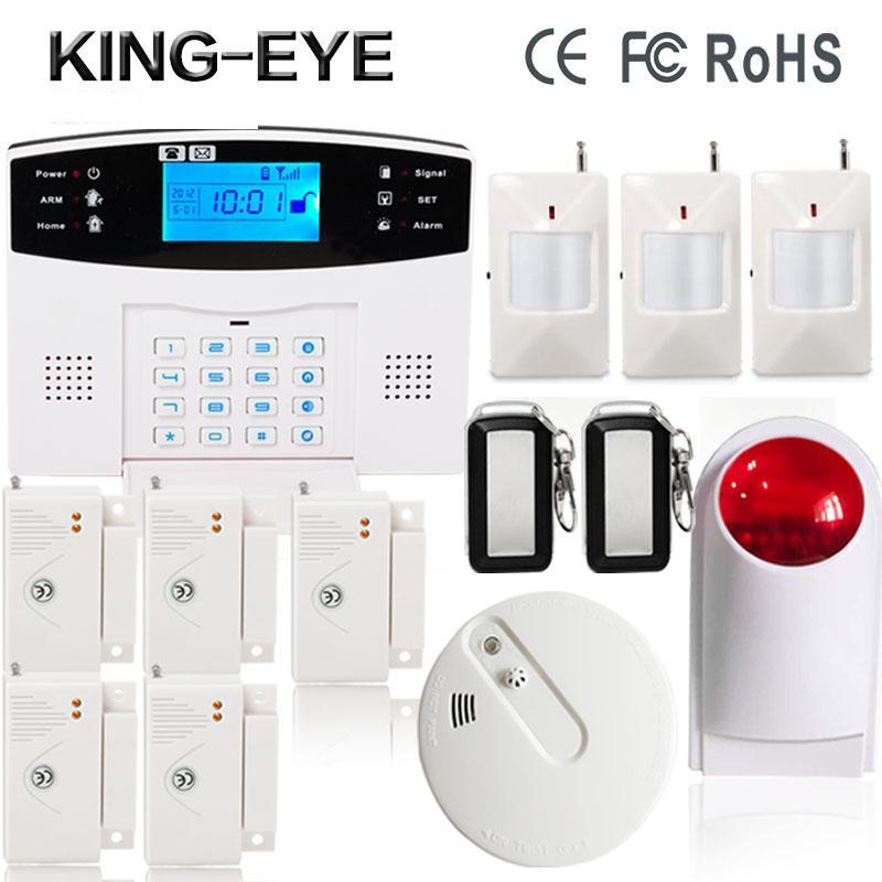 433 MHz Wireless Russian/Spanish/Turkish voice sms APP GSM alarm system security home with wireless strobe siren smoke detector good quality sms gsm security alarm with voice in 7 languages touch keypad app controlled burglar alarm system with new sensor