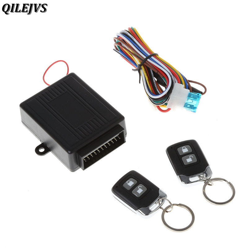 QILEJVS Universal Car Alarm System Auto Remote Central lock Kit Door Lock Keyless Entry System with 2 Remote Controllers