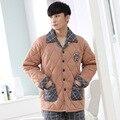 Três camada espessamento pijamas de inverno dos homens acolchoado jaqueta de algodão acolchoado pijamas dos homens de espessura agasalho masculino plus size terno XXXL