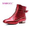 MAIKOOU 2017 Новых Женщин сапоги красный Мода Заклепки Лодыжки короткие сапоги обувь Из Натуральной Кожи Молния дизайн Марка Мартин сапоги W11