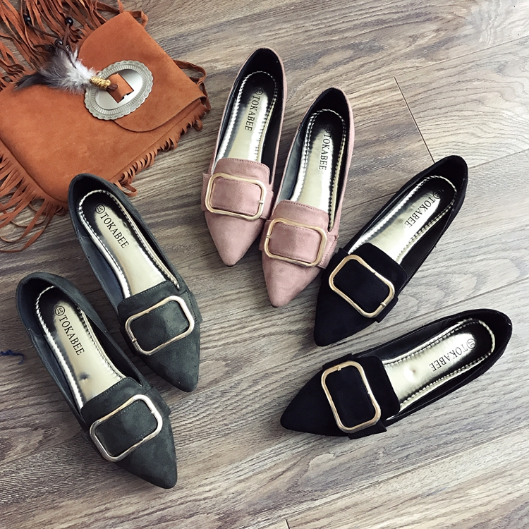 Spring   Suede     Leather   Flats Shoes Woman Slip On Buckle Decoration Flat Heels Loafers Ladies Creepers Fashion OL Work Shoes