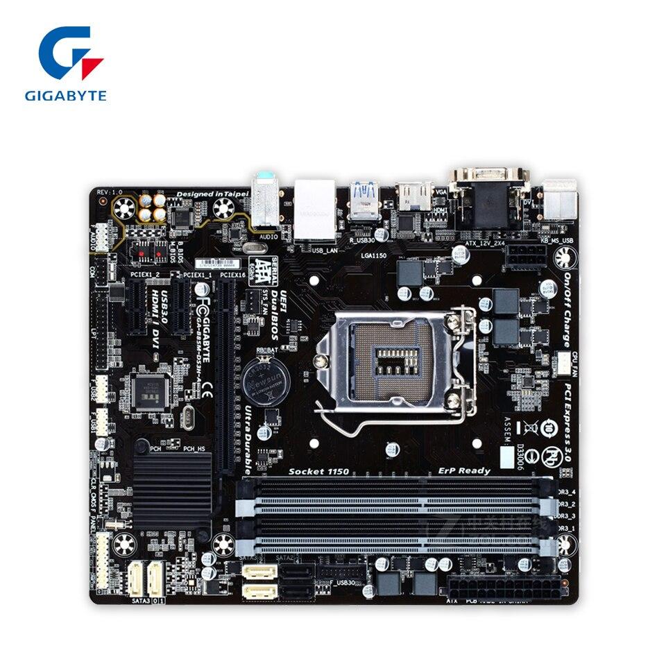 Gigabyte GA-B85M-DS3H-A Original Used Desktop Motherboard B85M-DS3H-A B85 LGA 1150 i3 i5 i7 DDR3 32G Micro-ATX gigabyte ga b85m d3v a original used desktop motherboard b85m d3v a b85 lga 1150 i3 i5 i7 ddr3 16g micro atx