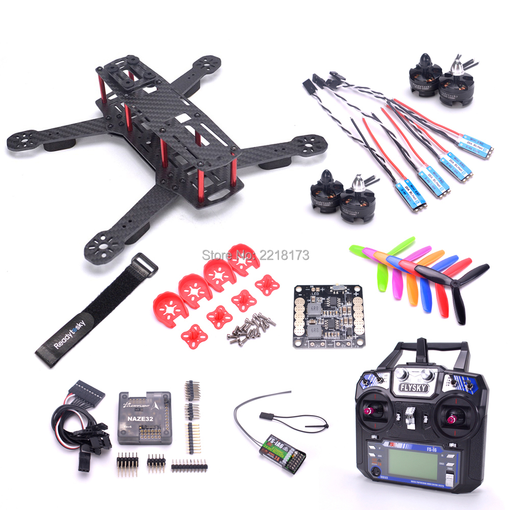 ZMR250 QAV250 с 3 мм arm Quadcopter Naze32 Rev6 6DOF flight controller 2204 2300kv двигателя 20A BLHeli программа-S ESC/ flysky FS-I6 FS I6