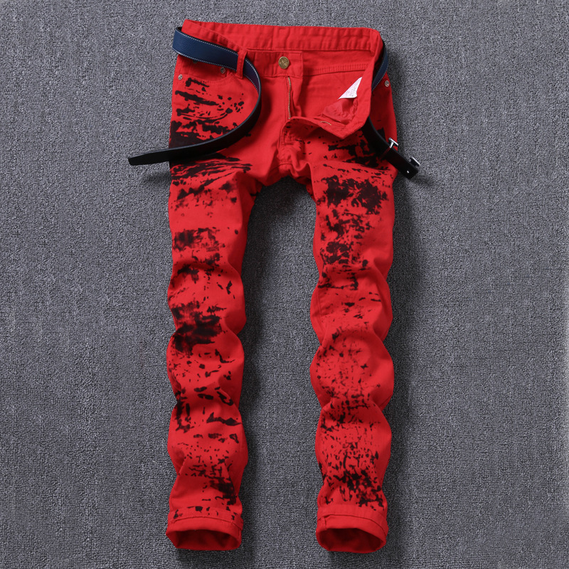 New 2018 printed trousers mens self-cultivation youth long pants fashion casual pants night shop trousers wholesale.