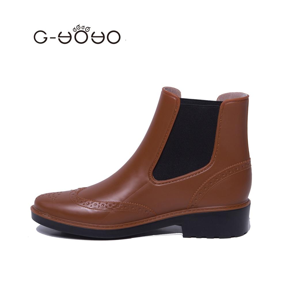G Yoyo Womens Non Slip Martin Short Ankle Rain Boots -8385