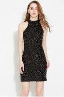 women sequin sleeveless dress casual dresses party evening elegant vestidos de fest close fitting dress