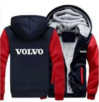 Men's solid color volvo hooded jacket motorcycle autumn and winter warm zipper thickening jacket volvo new sports hoodie