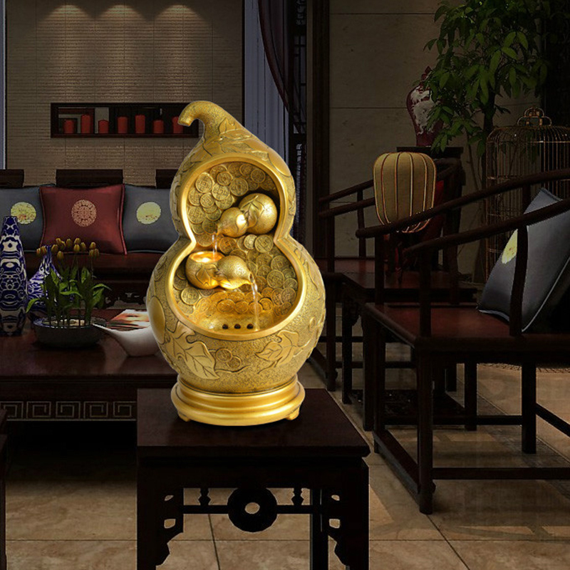 110/220V Fashion Gold Gourd Plant Resin Outdoor Feng Shui Water Fountain Garden Home Air Humidifier Decorative Ornaments Gifts