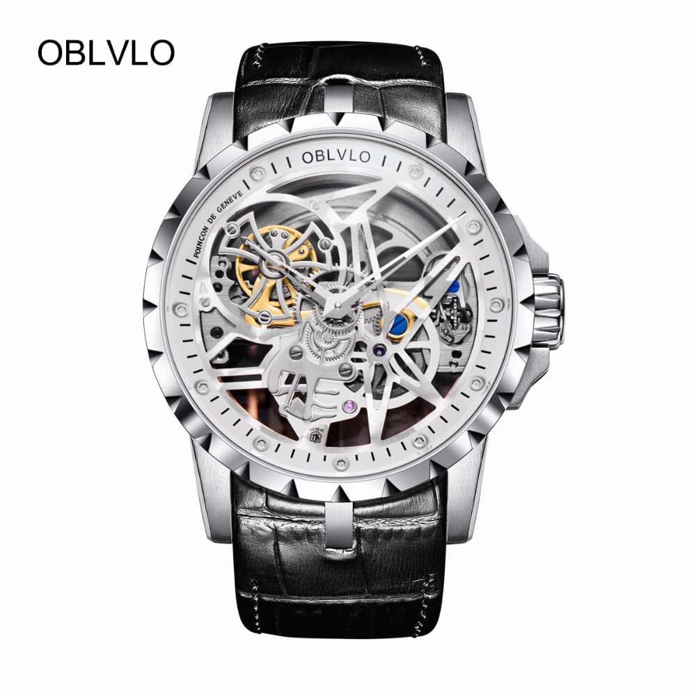 OBLVLO Luxury Open Work Design Mens Watches Skeleton Dial Calfskin Strap Steel Watch Automatic Movement Waterproof OBL3603 new arrival silver transparent skeleton open face design pocket watch women mens gift clock with 30cm chain p1038c