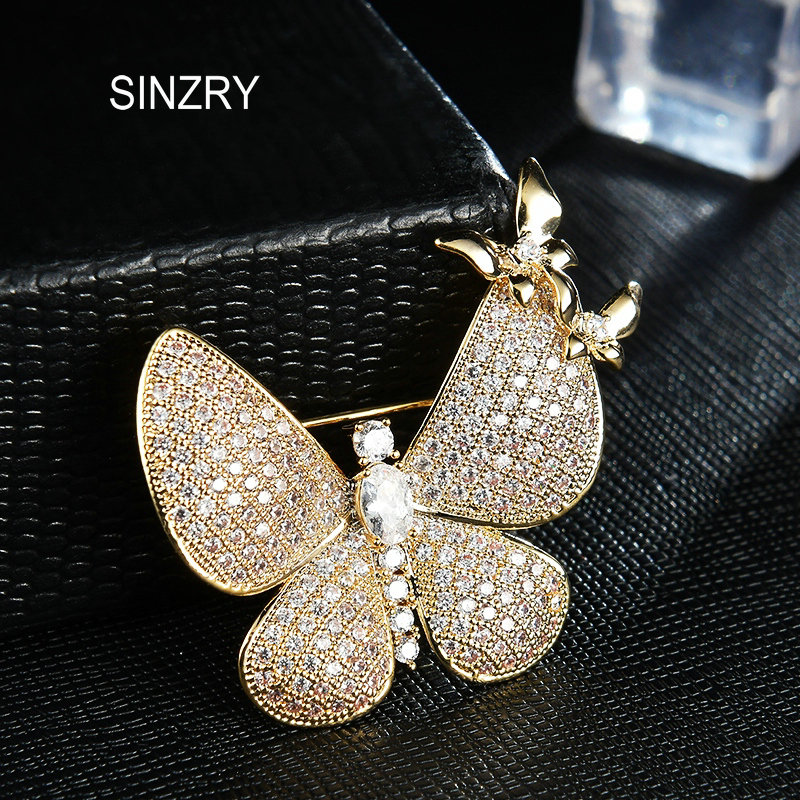 SINZRY 2018 new cubic zirconia micro paved butterfly brooches pin brilliant Korean stylish scarf buckle for women stylish pin buckle rivet perforated wavy edge light coffee belt for women
