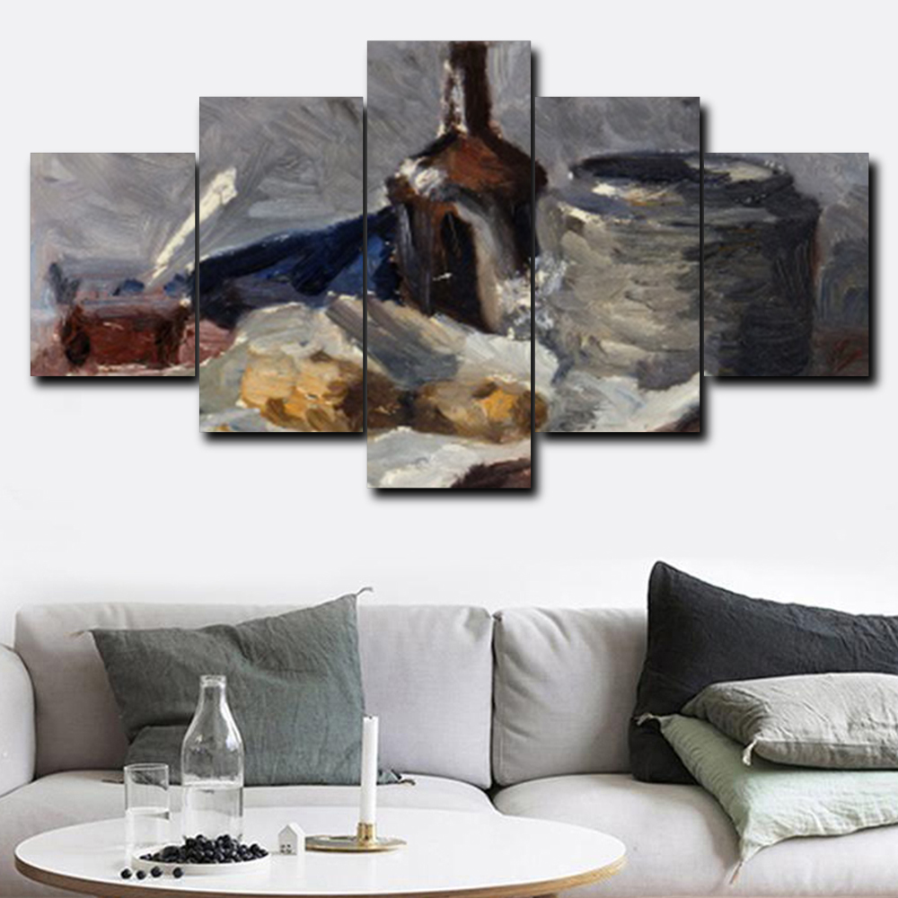 Us 13 65 38 Off Laeacco Wine Bottle Can Food Sketch View 5 Pieces Set Art Oil Painting On Canvas Printed For Room Parlor Wall Home Decor Picture In