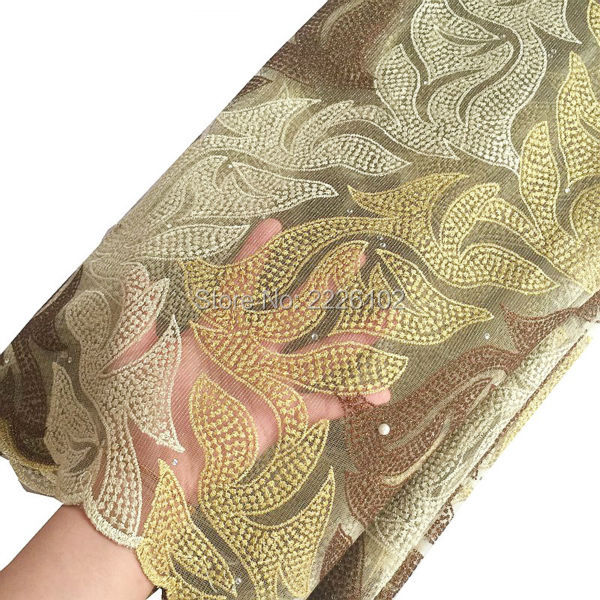 Gold hand cut lace fabric new arrivals african lace fabric