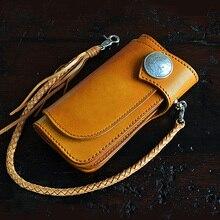 Handmade leather wallet men handbag women purse Italian pure leather wallets multi-function long hasp woman's wallet Cowhide