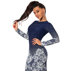 Save 8.19 on Sexy Vintage Print Flower Dot Women Mini Dress Slim O Neck Long Sleeve Feminino Bodycon Vestidos Night Club Party Pencil Dress