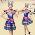 ca61c0b57 Novedad trajes de baile azules para mujeres ropa china Miao nacional  vestido de actuación tradicional trajes