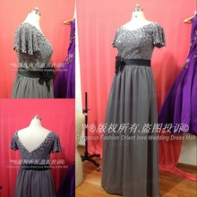 Free shipping summer beach V Neck Beading Chiffon Beaded Floor length Real pictures Party gowns Mother of the Bride Dresses