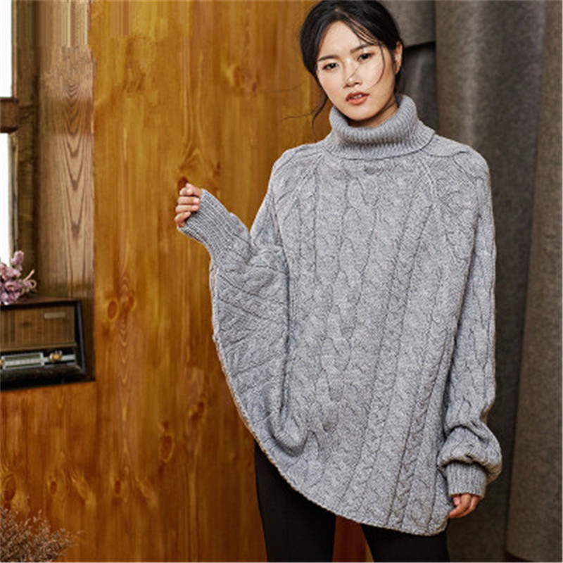 New Arrival 100% Hand Made Pure Wool Turtleneck Knit Women Fashion Loose Solid H-straight Thick Cloak Sweater One&over Size