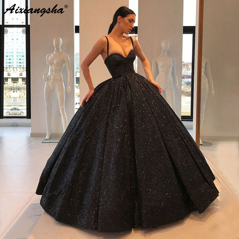 Sparkly Evening Dress 2019 Long Puffy Sweetheart Sleeveless Dubai Women Black Arabic Style Backless Formal Gown