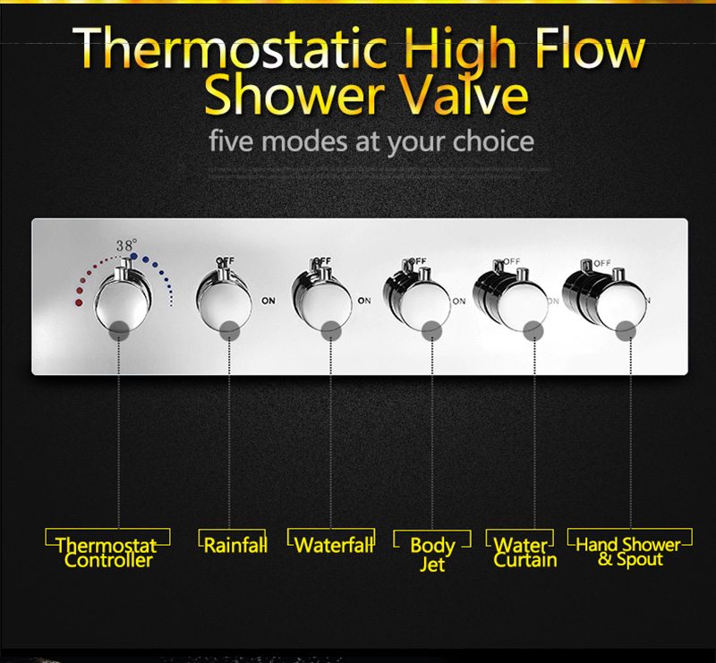 Bathroom Fixture Shower Faucets Ceiling Mounted Waterfall Mist Shower Head Big Rain LED Shower Set High Flow Thermostatic Bath (24)