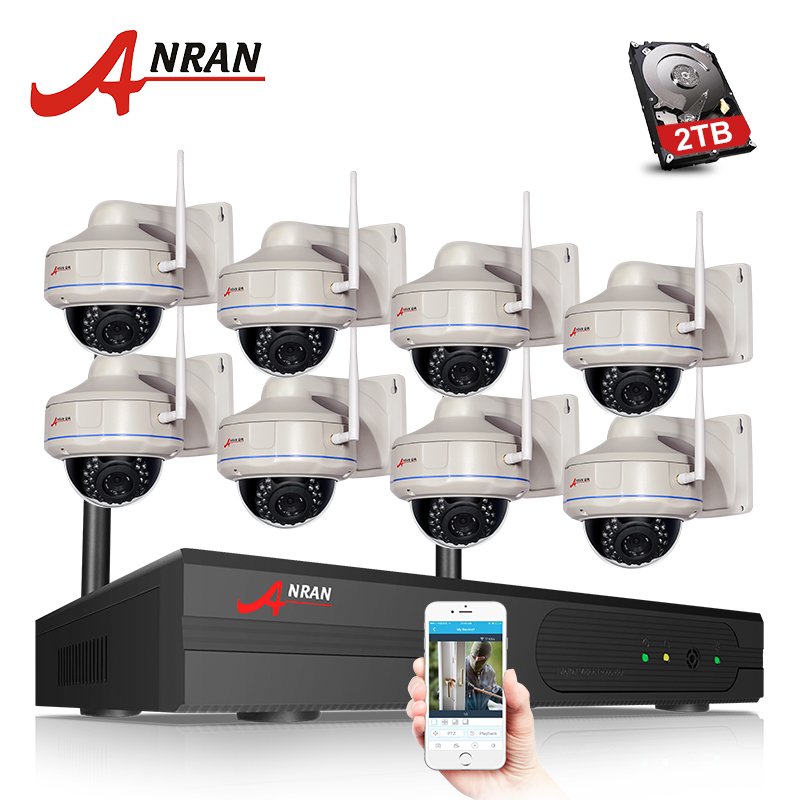 ANRAN Dome IP Camera 8CH H.265 NVR CCTV System WIFI Outdoor Waterproof Night Vision Home Security Surveillance Kit anran 16ch 5 0mp nvr h 265 cctv system security surveillance kit night vision outdoor waterproof network camera poe system