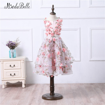 modabelle Organza Puffy Flower Girl Dresses Pink 3D Floral Printed Prom Dress Kids Matching Mom Daughter Gown Photo Shoot 2018