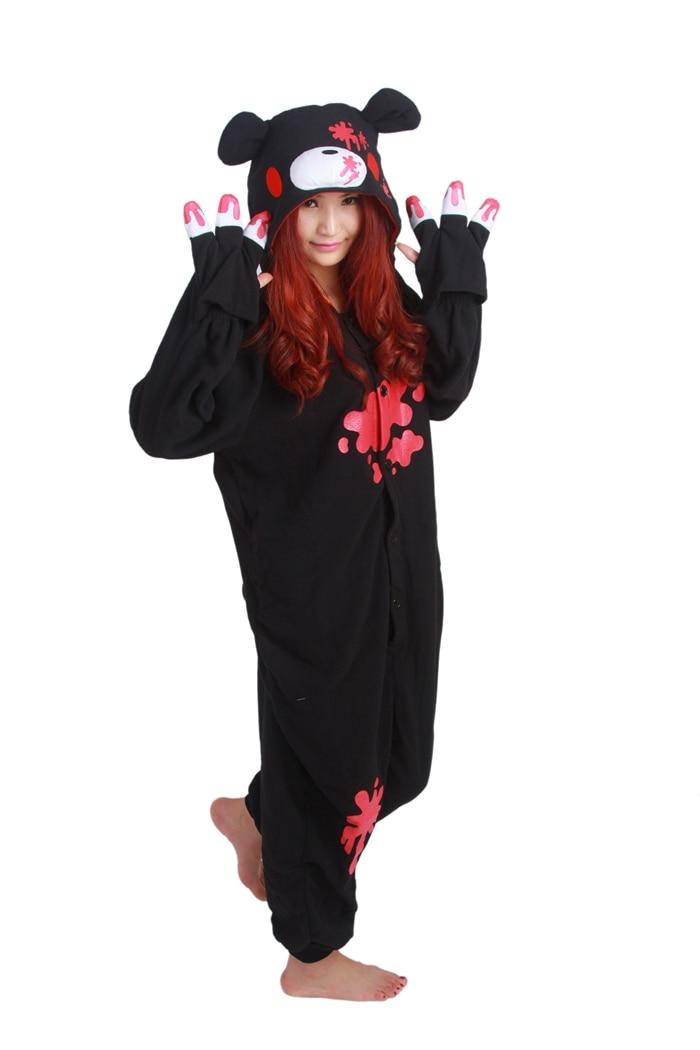 Unisex Fleece Adult Gloomy Black Bear Onesies Animal Cosplay Costume Halloween Xmas Pajama