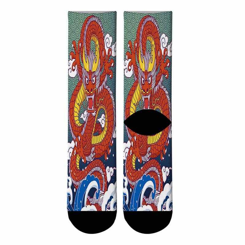 Baru 3D Dicetak Naga Cina Graffiti Lukisan Kaos Kaki Pria Lucu Bahagia Jepang ukiyo-e Panjang Kaus Kaki pria gaun Kaus kaki