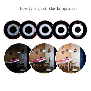 Image 4 - LED salone di bellezza di luce fredda lente di ingrandimento del tatuaggio lampada lampada di bellezza del sopracciglio del chiodo shadowless lampada da terra