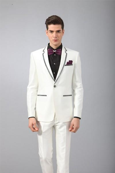 2016 New Arrival Wedding Suits For Men White Mens Prom Notched Lapel Grooms Tuxedos
