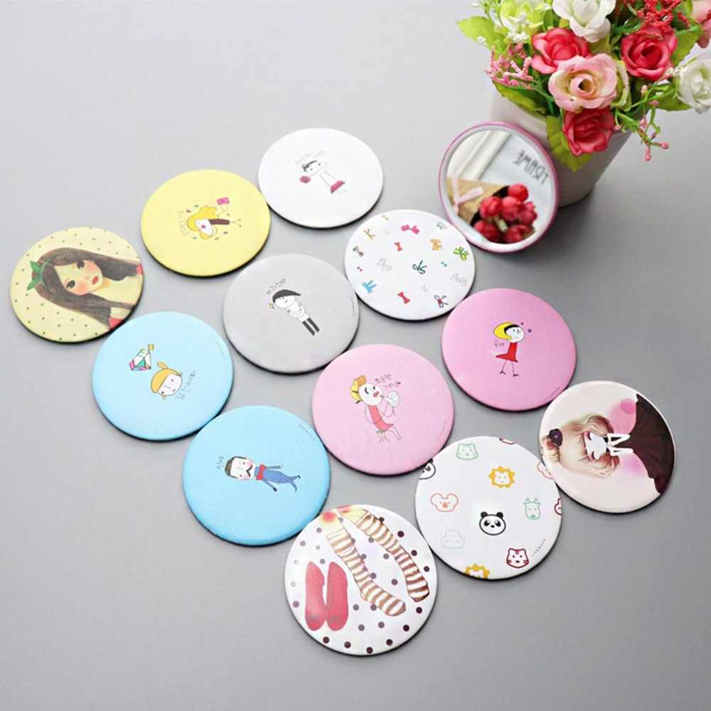Portable Paper+Metal+Mirror Cute Cartoon Hand Pocket Cosmetic Mirror Round Lady Girl Mini Outdoor Party Makeup Mirror Decor
