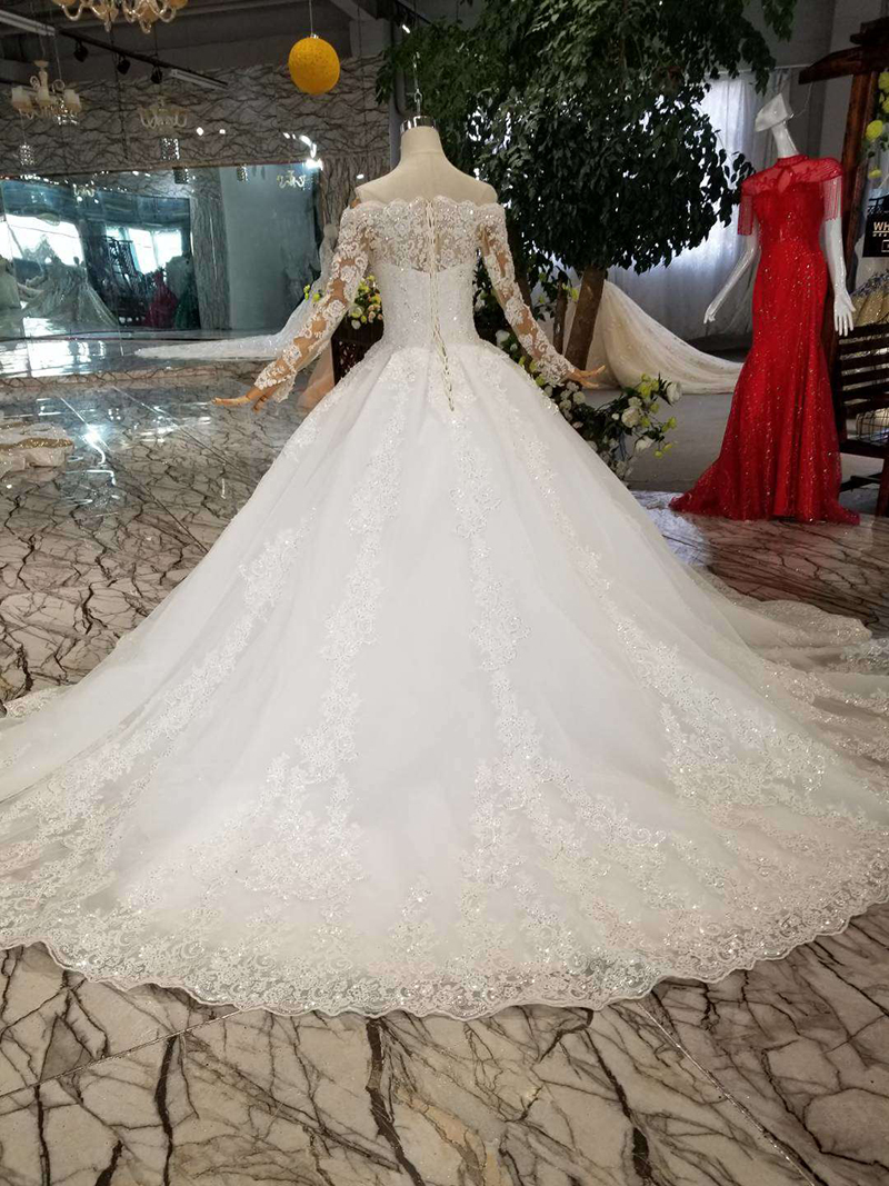 Image 2 - HTL108 bohemian wedding dress like white off the shoulder boat neck long tulle appliques sleeves wedding gown simple beach styleWedding Dresses   -