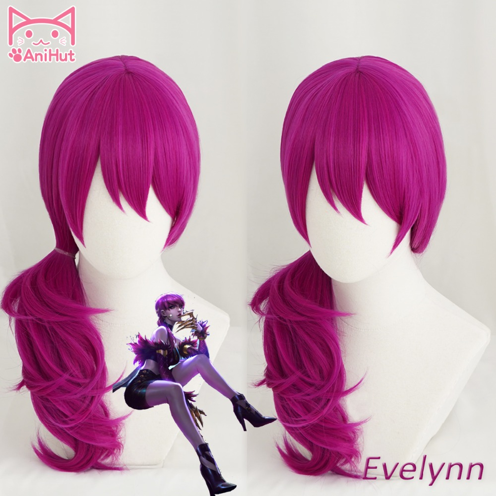 【Anihut】LOL Game Cosplay Wig KDA  POP/STAR Evelynn Cosplay Wigs Women Long Straight Purple Wig LOL KDA Evelynn KPOP SKIN Hair