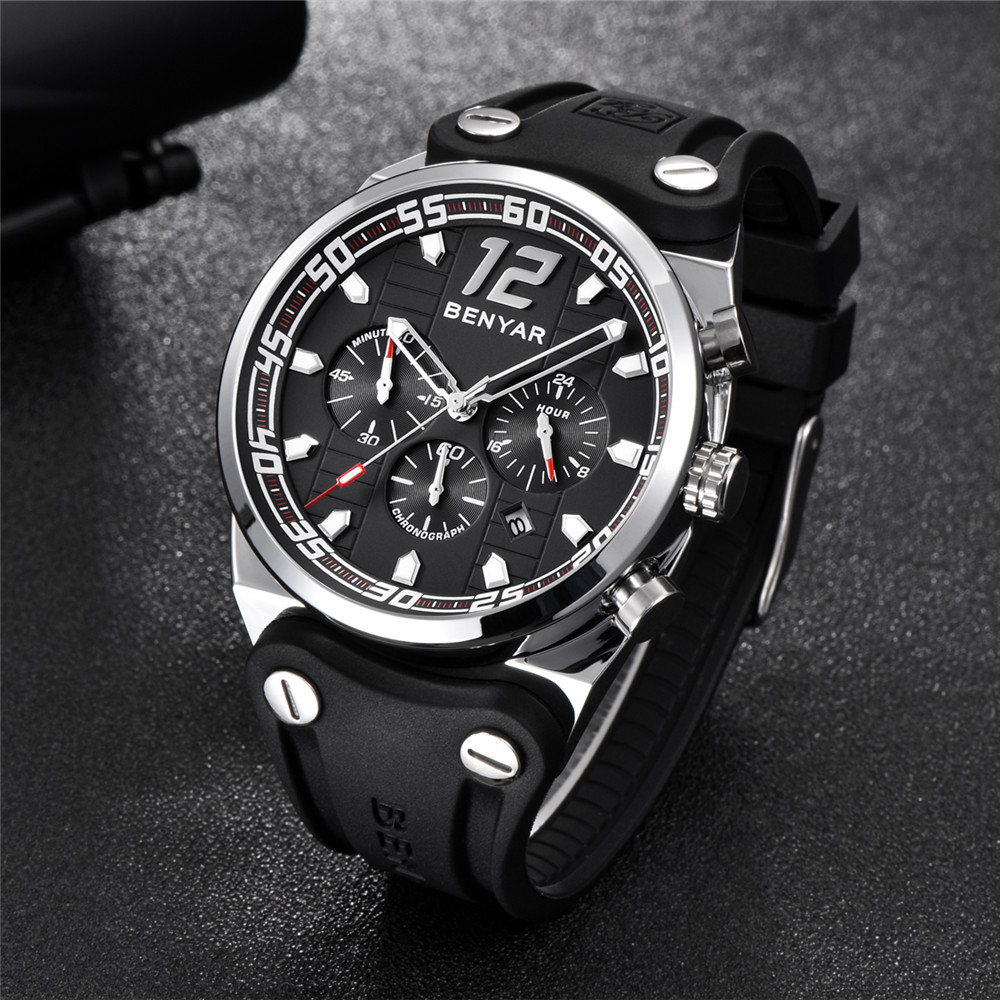 BENYAR Brand Full Steel Mens Watches Luxury Army Military Quartz Watch Men Sport 30M Waterproof Male Clock Gifts Montre Homme weide new men quartz casual watch army military sports watch waterproof back light men watches alarm clock multiple time zone