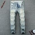 Pantalones vaqueros rasgados para los hombres botón de la mosca azul claro jeans para hombre de alta calidad de diseño de moda más tamaño 38 biker jeans hombres 603