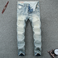 Ripped jeans for men button fly light blue mens jeans high quality fashion design plus size 38 biker jeans men 603