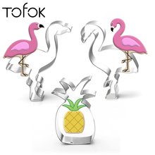 Tofok 1pc/5pcs Stainless Steel Flamingo Pineapple Coconut Tree Cactus Shape Cookie Cutter Mould Stamper Baking Cake Decor Tool
