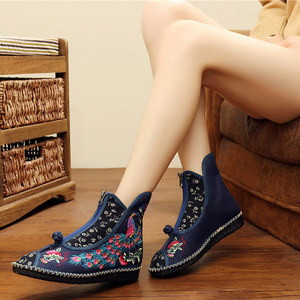 Image 3 - Veowalk Peacock Embroidered Women Canvas Flat Short Boots, Vintage Chinese Embroidery Cotton Booties Ladies Shoes Front Zippers