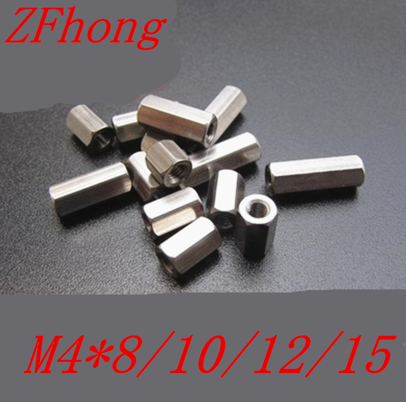 20PCS M4*8/10/12/15 Female to female Stainless steel  spacer standoff long hex nut 20pcs lot m6 8 10 12 15 20 25 30 35 40 45 50 60 female female brass hex standoff spacer