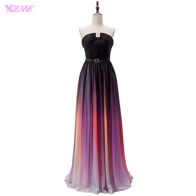 YQLNNE Cheap Gradient Chiffon Long Prom Dresses Party Evening Gown Strapless Vestido De Festa Fashion Women Dress