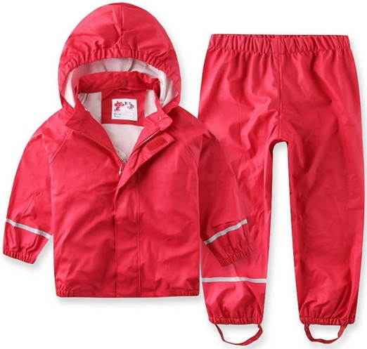 Children wind rain waterproof PU suit raincoat rain pants baby clothes boys and girls spring autumn mudproof waterproof high-end