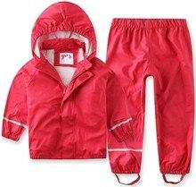 2018 New Sale Solid Full Children Wind Rain Waterproof Pu Suit Raincoat Pants font b Baby