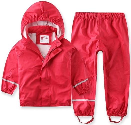 2018 Nouvelle Vente Solide Plein Enfants Vent Pluie Étanche Pu Costume Imperméable Pantalon Bébé Vêtements Et Printemps Automne Mudproof Haute -fin