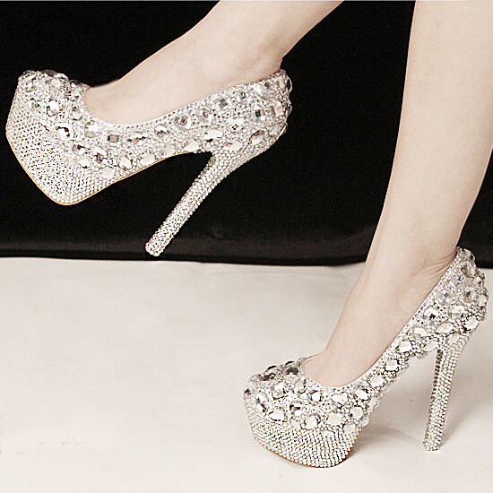 New Sale Gorgeous Fashion Silver High Heels Crystal Wedding Shoes ...
